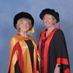 Professor Cheryl Praeger (left) and UQ Executive Dean of Science, Professor Melissa Brown (right)